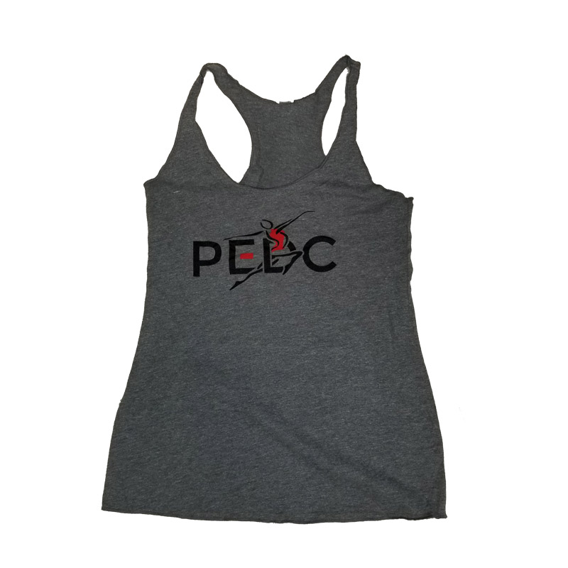 Ladies Tri Blend Racerback LOGO Tank-GRAY